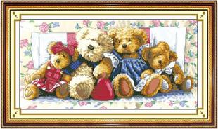 售完即止 100%精准印花棉线绣十字绣 小熊一家 动物系列 包邮
