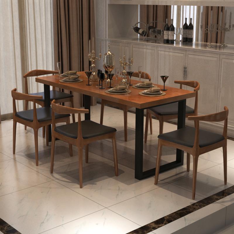 铁艺实木餐桌餐椅