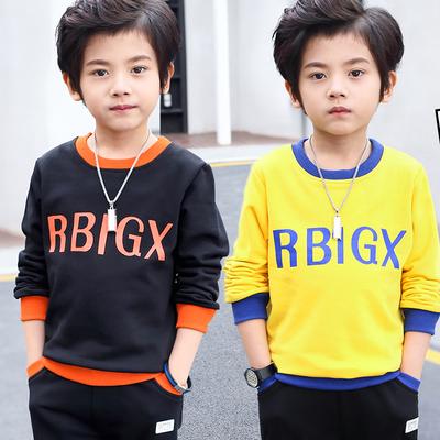 男童套装 超实惠儿童春秋季两件套 黄色/黑色 小男孩衣服秋装潮衣