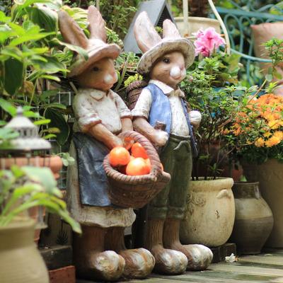 户外花园大号兔子装饰摆件美式乡村做旧复古落地庭院园艺景观摆件