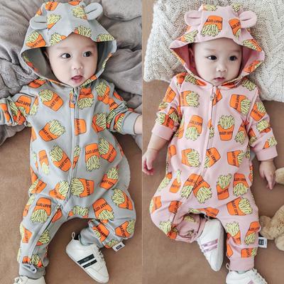 婴儿连体衣服春秋长袖哈衣薯条印花连帽拉链外出爬服宝宝全棉外套