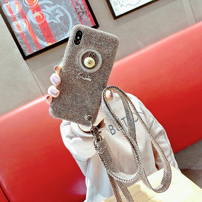 毛绒双挂绳iphoneX手机壳绒布苹果8 7plus全包保护套6s潮牌新款女