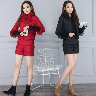 棉衣套装女短裤两件套2017冬装新款韩版显瘦羽绒棉服短款棉袄外套