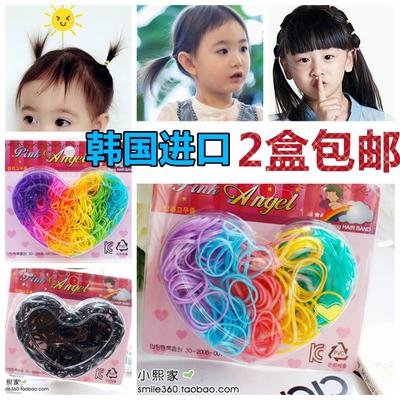 韩国进口发圈儿童发饰基础橡皮筋拼色糖果色小皮筋宝宝打底扎头发