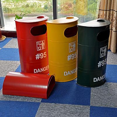 工业风复古风铁艺#95汽油桶垃圾桶家居装饰酒吧KTV网咖软装饰品