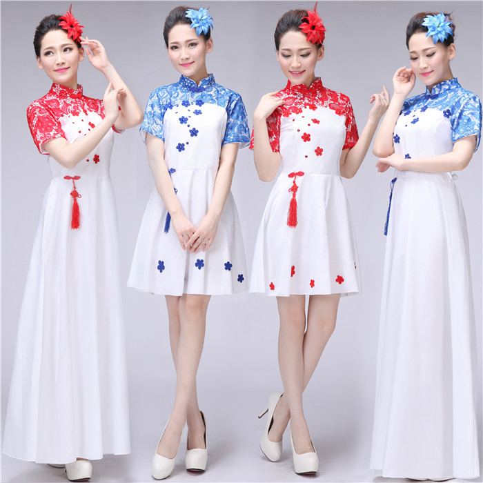 Chinese style big choir performance clothing female dress adult middle-aged and old guzheng performance