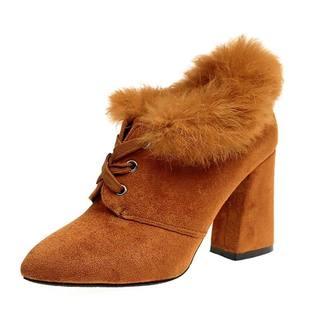 绒面磨砂冬季马丁靴前系带粗跟新款2017高跟女士鞋毛毛加绒短靴
