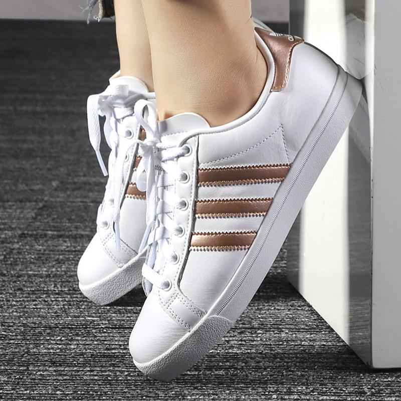 阿迪达斯三叶草女鞋2019新款金标小白鞋低帮休闲鞋运动板鞋EE6201