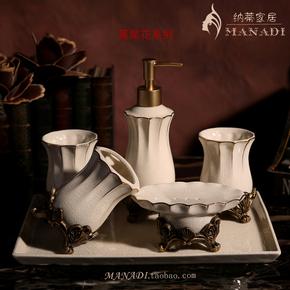 欧式陶瓷卫浴五件套装 刷牙漱口杯浴室套装 牙刷架卫浴洗漱套件