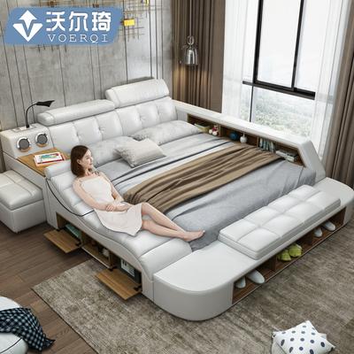 真皮床智能按摩现代简约榻榻米床主卧1.8米多功能双人储物软婚床