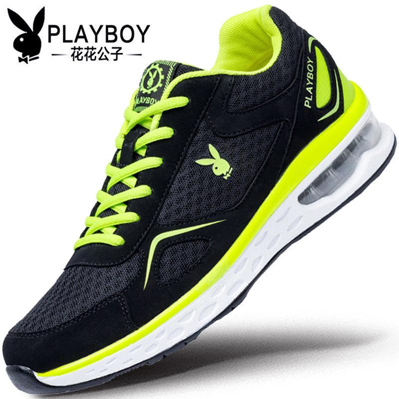花花公子内增高男鞋夏季透气运动鞋男士网面网鞋韩版气垫跑步鞋男
