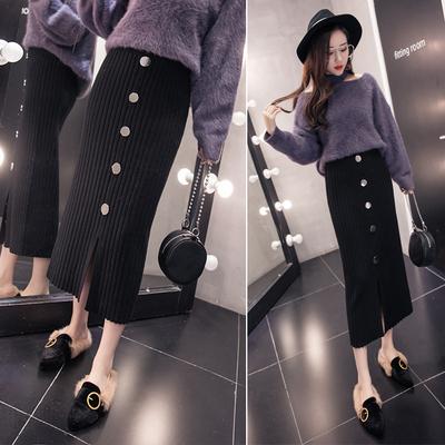 韩版2018秋冬季新款加厚针织纽扣螺纹包臀高腰一步半身裙子女士