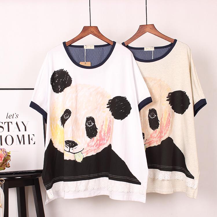 短袖女熊猫蝙蝠衫