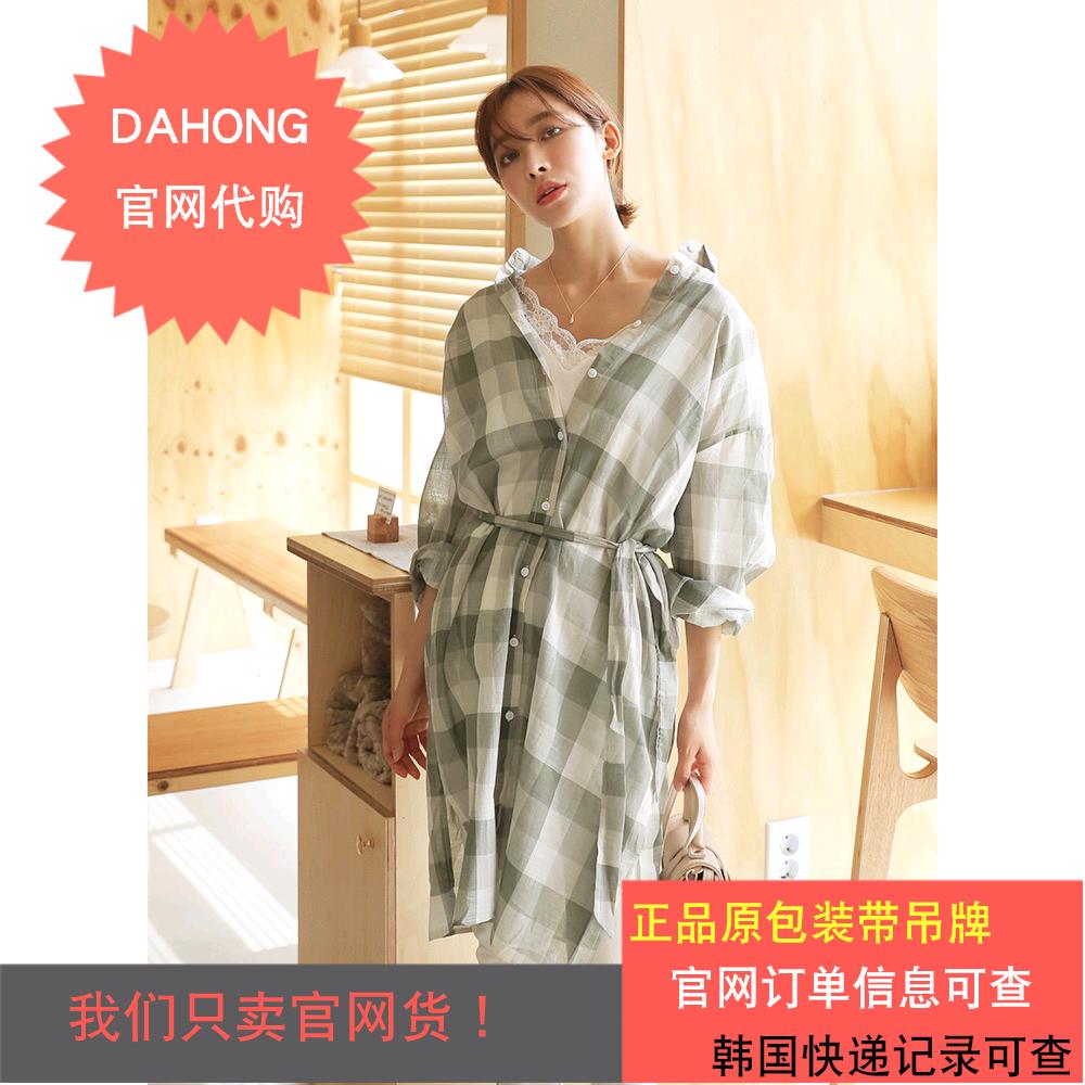 韩国代购时尚起义19夏款撞色大方格系带腰宽松长款衬衫|791247