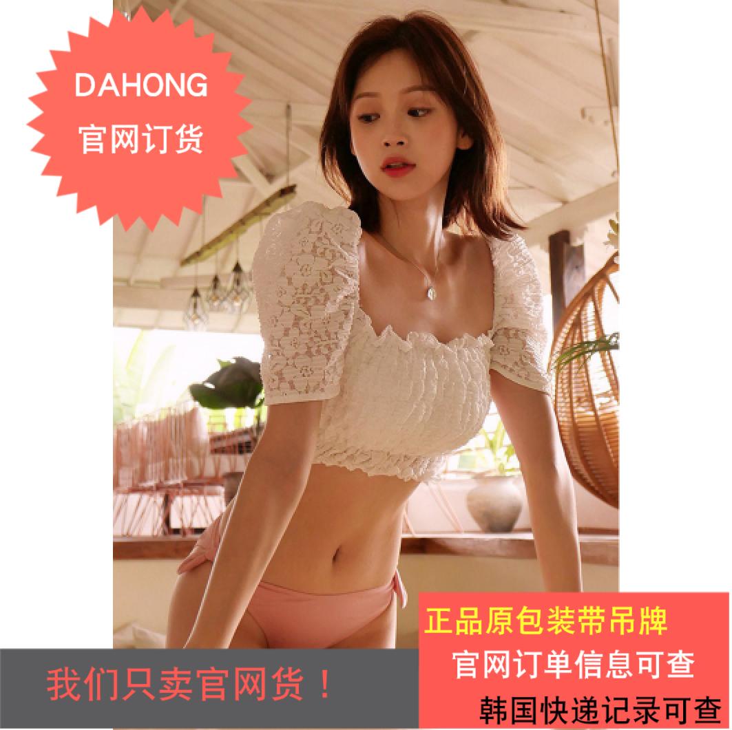 韩国代购时尚起义2019夏季新款甜美气球袖分体比基尼|810553