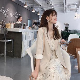 谜秀夏季西装外套女2019新款韩版网红垂坠感气质chic薄开衫小西服