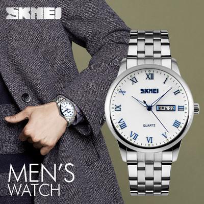 超薄双日历手表男机械表防水夜光腕表时尚潮流男表钢带学生石英表特价