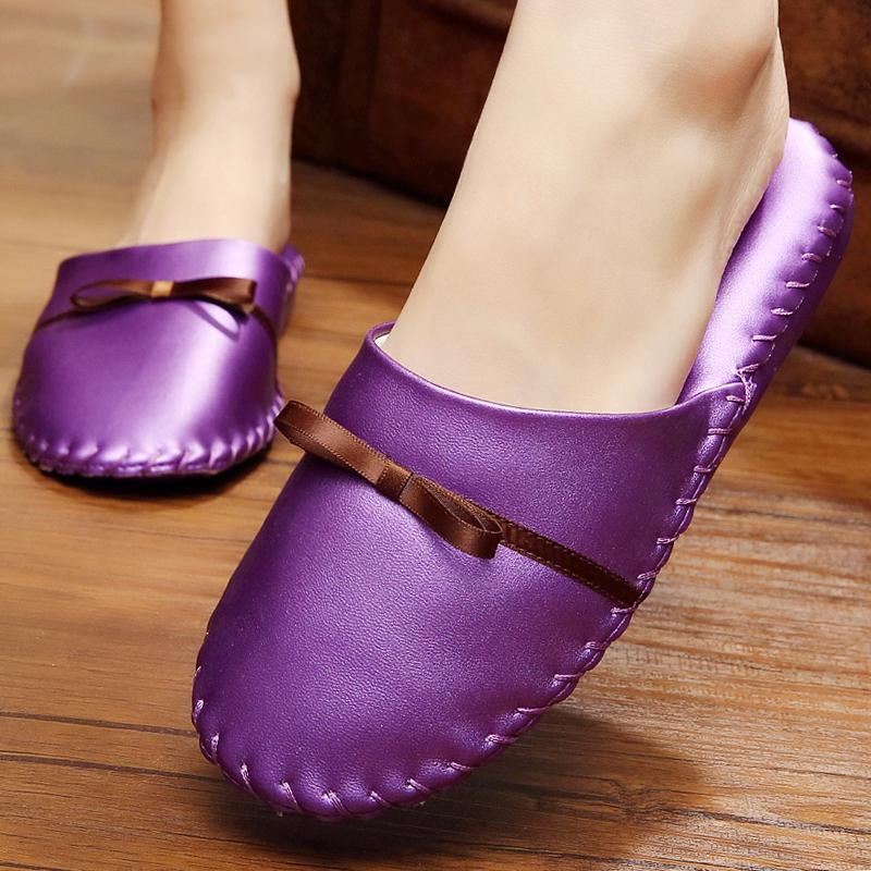 韩国优雅紫色蝴蝶结居家卧室静音软底木地板皮拖鞋室内家居拖鞋冬