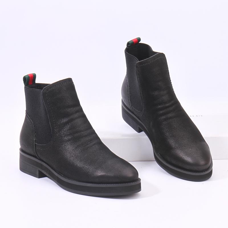 女鞋小牛皮真皮百搭套脚一脚蹬女士低跟短靴休闲舒适加绒切尔西靴