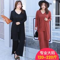 2018夏季新款加大码女OL针织三件套气质时尚女士套装胖MM服饰显瘦