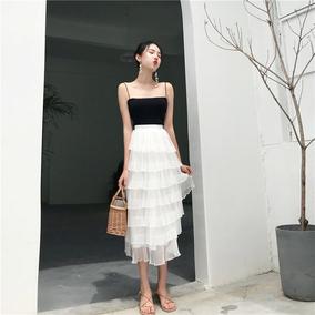 朵拉潮人馆 港味复古chic针织小吊带+多层荷叶边半身裙两件套女夏
