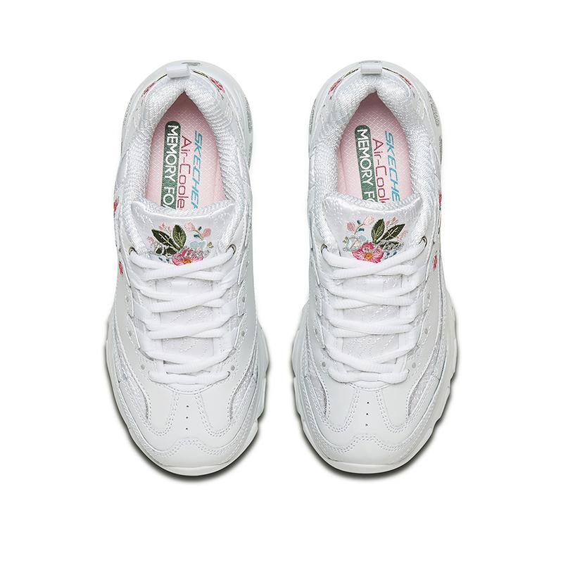 Skechers斯凯奇女鞋D'lites复古绣花熊猫鞋 小白鞋老爹鞋女11977