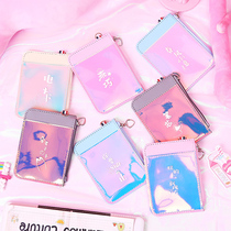 Card package purse one ins ins girls heart small female creative simple and cute small lanyard card sets key ring