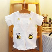 idea夏季1-2-3岁套装婴幼儿宝宝棉质T恤+卡通背带裤2件套2019童装