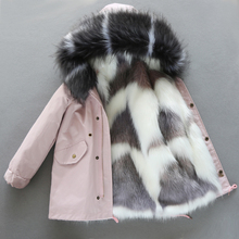 Children's fur jacket winter new cotton jacket for boys and girls Korean version baby warm and thick woolen cotton jacket medium length