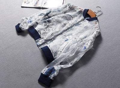 西班牙单时尚花朵织绒立领长袖欧根纱防晒衣夹克外套春夏女装0.19