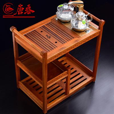 唐春茶车实木移动茶台带轮泡茶桌花梨木家用乌金石面茶盘茶具套装品牌资讯