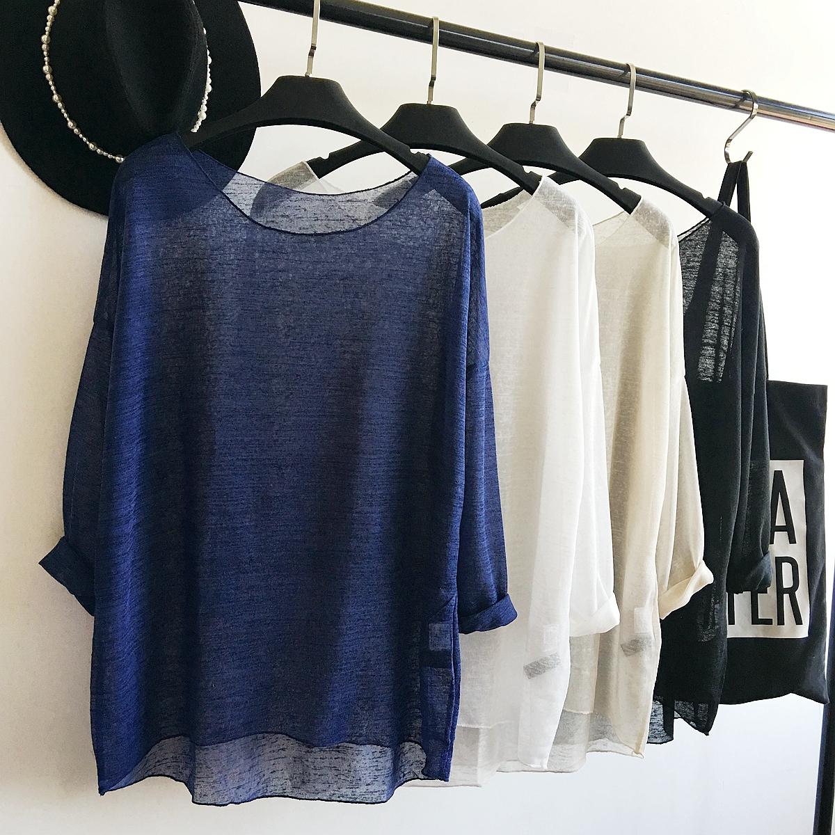 蓝色针织衫女套头长袖