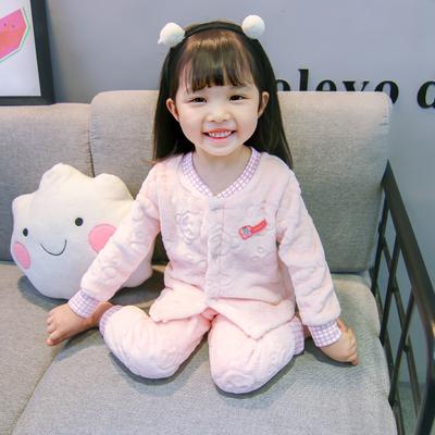 秋冬季儿童法兰绒睡衣男女童珊瑚绒加厚小女孩宝宝长袖套装家居服