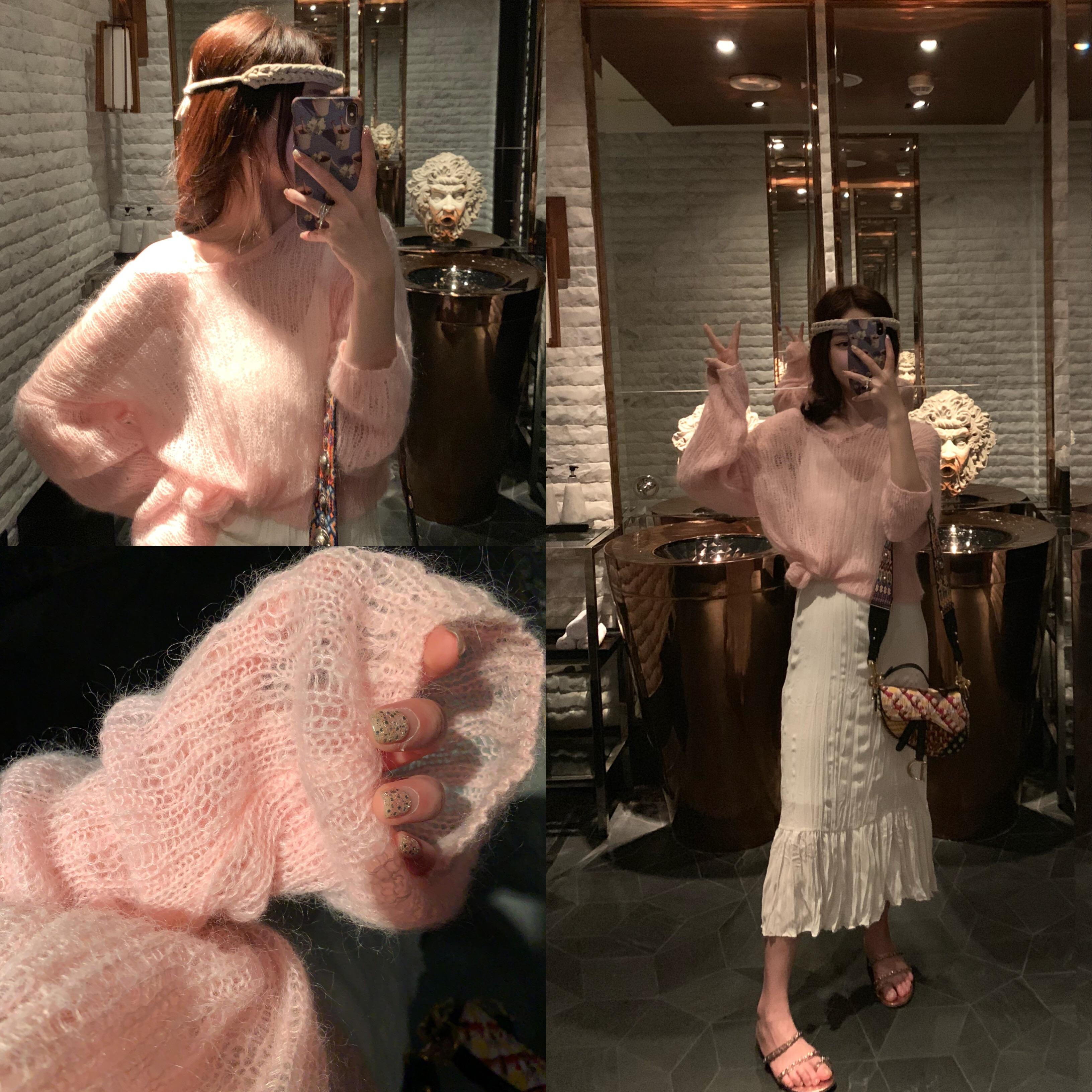 钱夫人 马海毛破洞镂空羊毛针织衫女宽松V领套头罩衫短款薄款毛衣