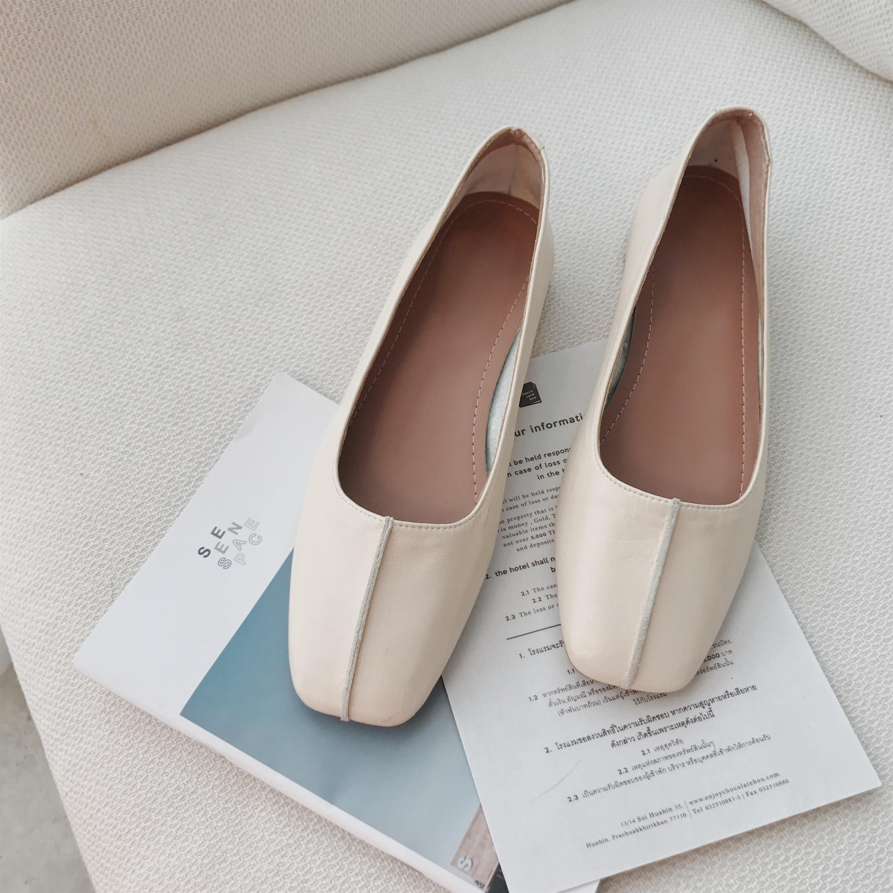 【钱夫人】CHINSTUDIO定制 百日宴雪梨复古方头米白色单鞋