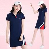 女士显瘦运动休闲连衣裙网球羽毛球大码 翻领短袖 2019夏季新款 短裙