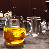 Creative cup heat-resistant glass tea set home flower tea cup filter with cover three pieces of glass with tea cups
