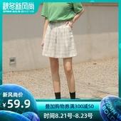 高腰宽松显瘦裤 子学生休闲裤 女夏2019新款 墨锦复古格子阔腿裤 短裤图片