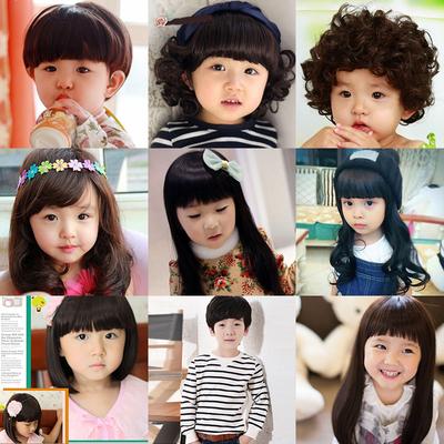 公主蘑菇头可爱假发短发学生头饰女孩小孩刘海儿童长发造型假发