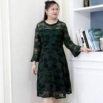 2018秋装新款加肥加大码女装胖mm显瘦中长款绿色蕾丝女人连衣裙子