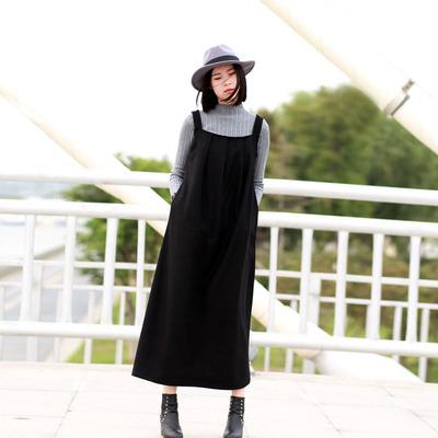 毛呢吊带裙秋冬女外穿韩版冬天裙子女冬加厚背带裙2017新款连衣裙