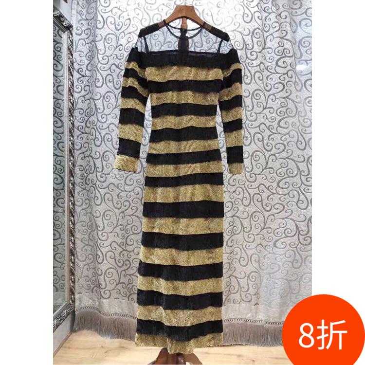 M清8折网纱拼接条纹针织连衣裙女装春2019欧美修身长裙性感10G
