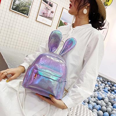 卡通双肩包女潮个性搞怪萌镭射小书包可爱兔耳朵亮面森系果冻包