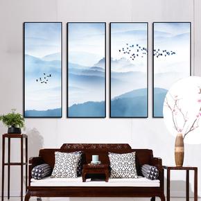 新中式茶楼风景山水壁画茶室中国风禅意电视沙发背景墙挂画装饰画
