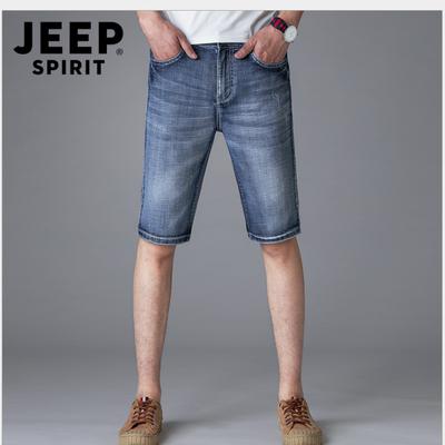 jeep战地旗舰店官方正品牛仔短裤休闲中裤宽松大码男五分裤子吉普