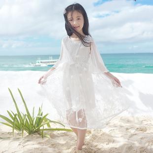 女童沙滩裙海边度假中大童夏季裙子儿童雪纺长裙小女孩白色连衣裙