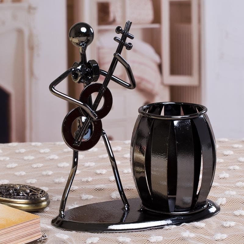 小提琴儿童玩具仿真广告创意办公笔筒 卡通放笔时尚礼品铁艺乐队