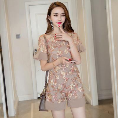 欧洲站夏装女2018新款欧根纱时尚洋气雪纺韩版显瘦短裤套装两件套