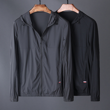 Fashion breathable punching! Comfortable silk slippery men's high-quality sport sunscreen clothes, recreational and self-cultivating men's Hooded Jacket