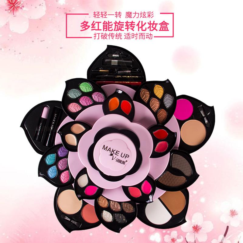 彩妆盘套装组合旋转花瓣大梅花莲花型眼影盘网红抖音化妆盒全套